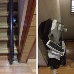 一階ではレールを垂直に、二階では突き出しを短く抑えて設置しました。